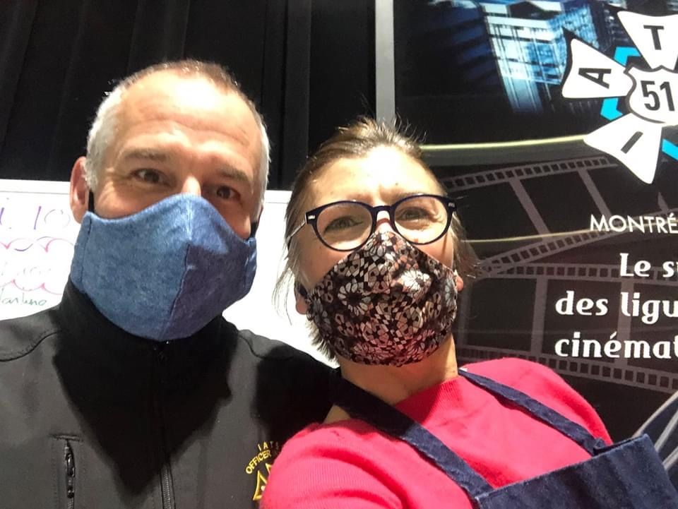 Pictured here is union member Christian Bergeron with seamstress Simonetta Mariano.