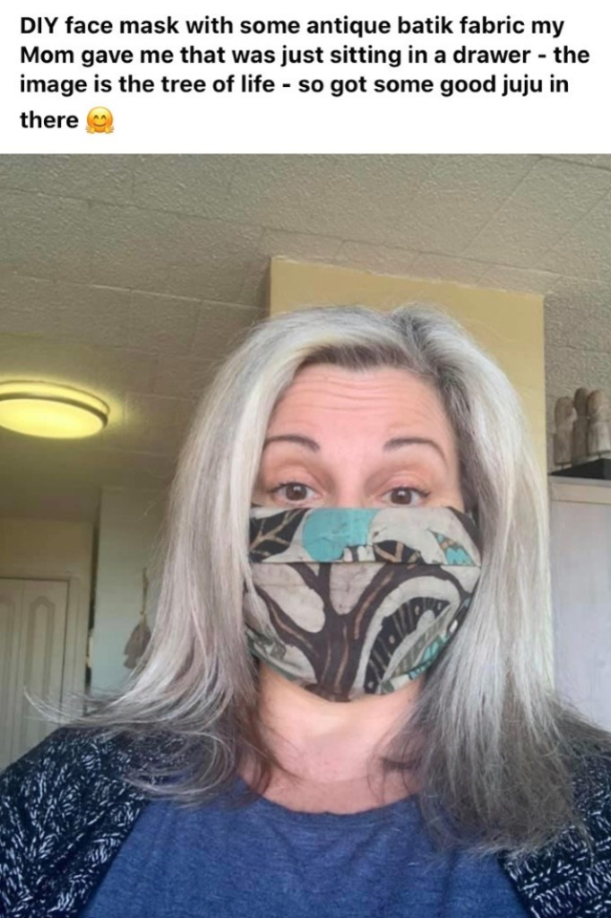 A picture of Susan Corrado wearing a home-made mask