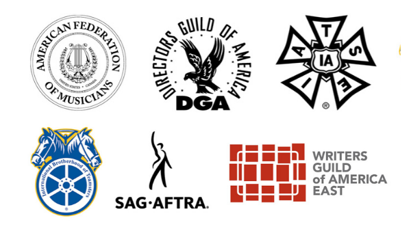 Logos of the AFM, DGA, IATSE, Teamsters, SAG-AFTRA, and the WGAE