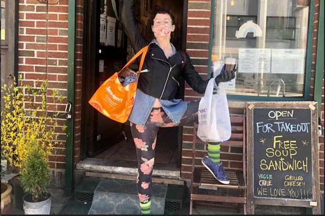 Volunteer Joanna carried an incredibly heavy bag filled with items you have donated to the food pantry to a family in need.